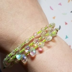Handmade evil eye beaded bracelet green white